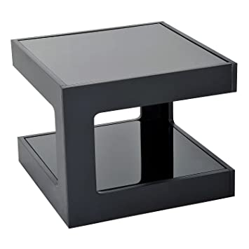 HOMCOM Modern Glass Top Cube End Accent Table (Black)