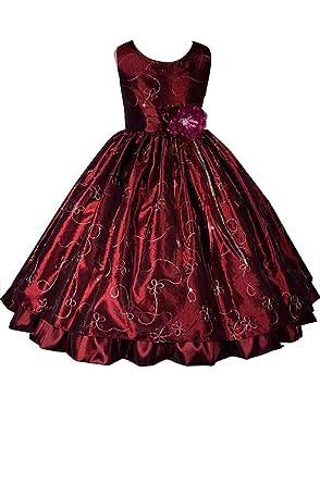 5e4c2ef753f AMJ Dresses Inc Little-Girls' Burgundy Flower Girl Holiday Dress E1666 ...