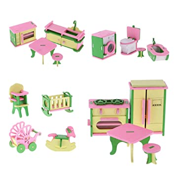 Monkeyjack 4 Sets Wooden Dollhouse Miniatures Kitchen Bathroom