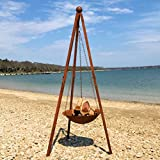 Whole House Worlds The Americana Fire Pit, Hanging Bowl on Tripod Stand, Vintage Style, Rusty Finish, Approx 7 Ft Tall (82 5/8 inches) By