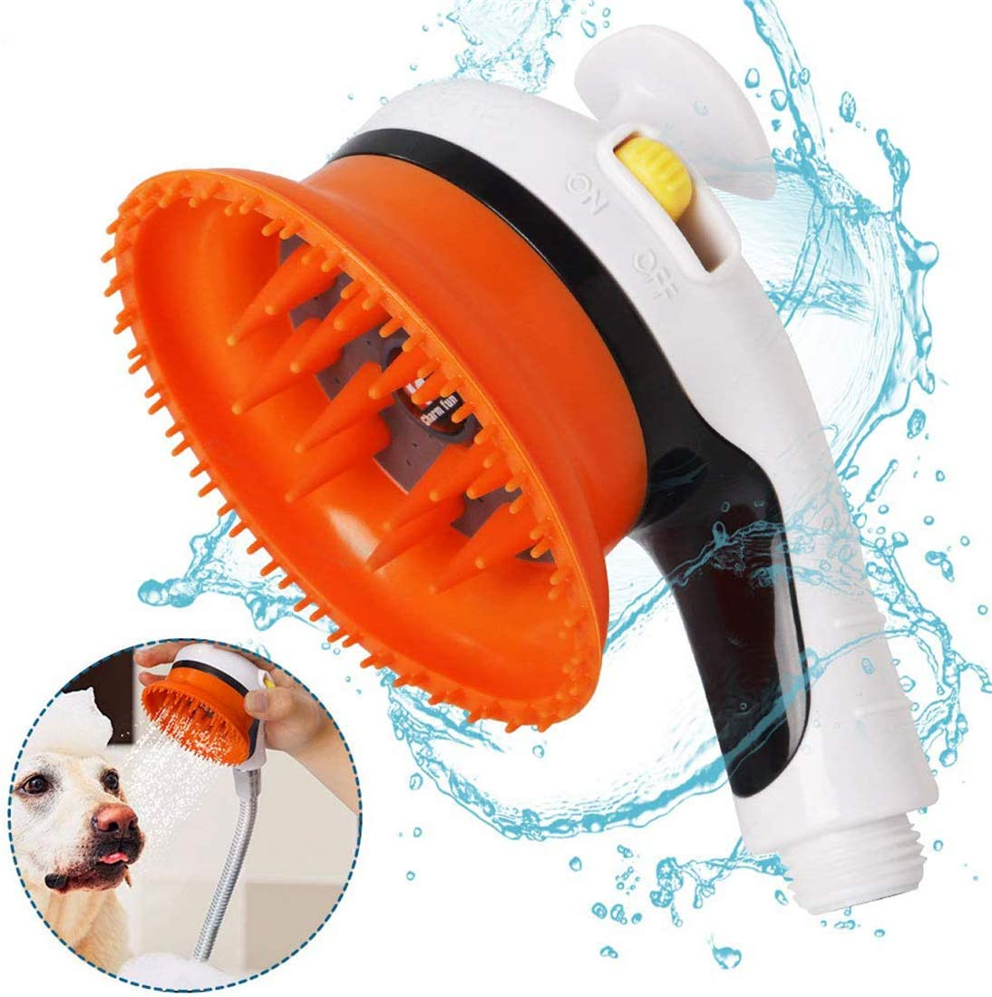 Pink Single QMYS Pet Bathing Tool Universal Dog Cat Shower Sprayer Cleaner Suit Attachment Brush for Hose Bath Massage Scrubber Silicone Cleaning Washer Comb Garden