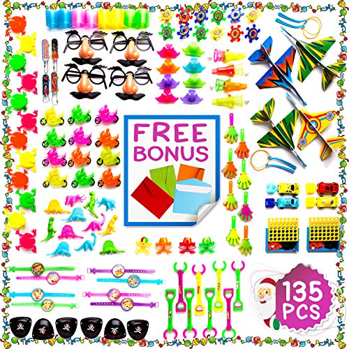 Imagine's JUMBO 135 Piece Party Favors Assortment: Colorful Toys, Pinata and Claw Machine Fillers, Carnival Prizes, Rewards, Gifts Plus Free Envelopes ()