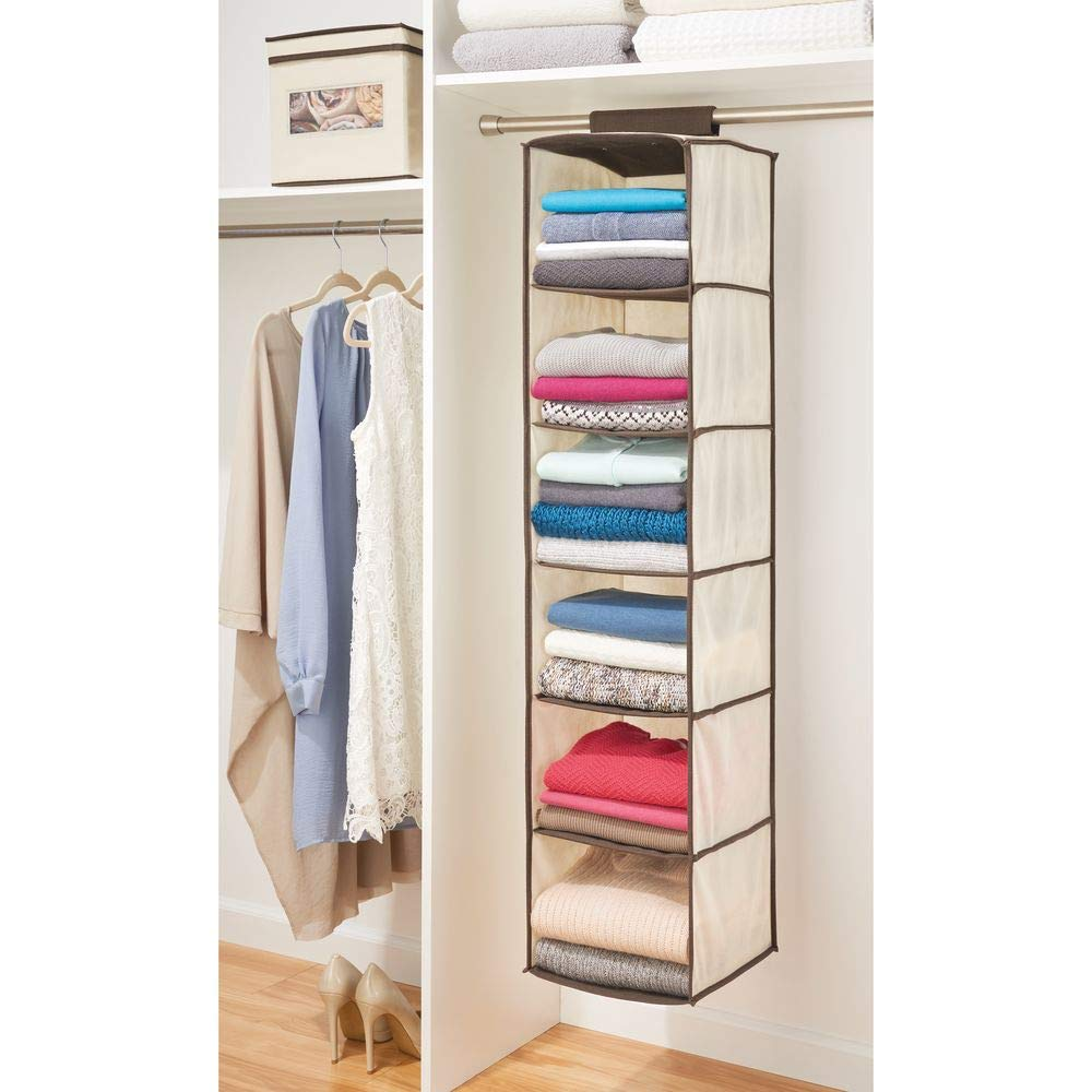 Mdesign Long Soft Fabric Over Closet Rod Hanging Storage Organizer