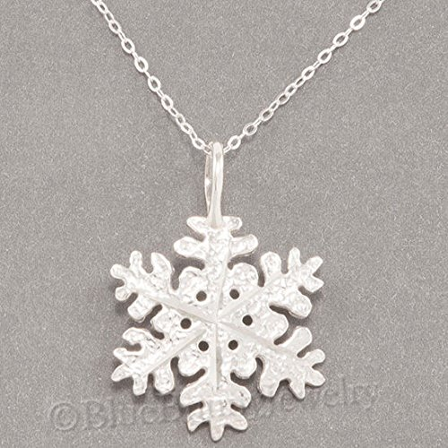 SNOWFLAKE Necklace Snow Flake Charm diamond cut Pendant STERLING SILVER 18