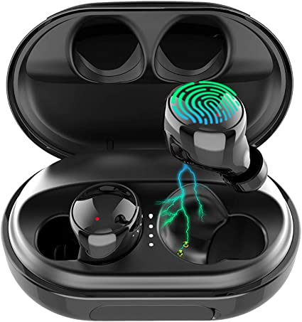 Amazon Com Wireless Earbuds Bluetooth 5 0 Headphones 120h Playtime Deep Bass Stereo Sound Earbuds With Microphone Ipx8 Waterproof Headphones With Charging Case For Sports Home Audio Theater