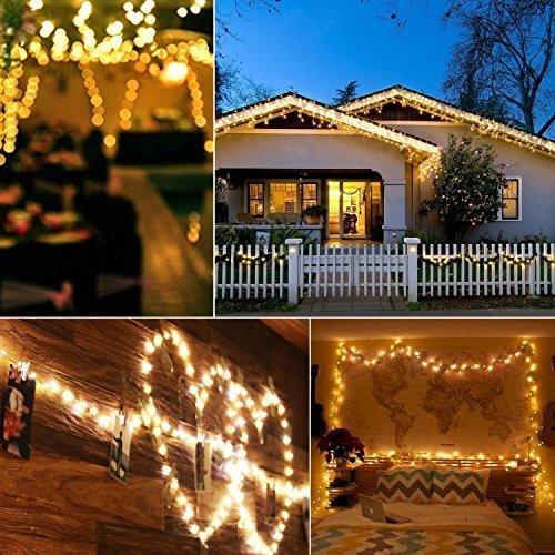 B-right Guirnalda Luces Solar Exterior 22m 200 LED, Luces Solar Exterior Impermeable, Alambre de Cobre, 8 Modos de Luces, Luces Navidad Exterior Solares ...