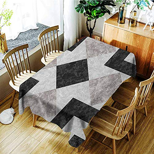 XXANS Outdoor Tablecloth Rectangular,Marble,Nostalgic Marble Stone Mosaic Regular Design with Alluring Elements Artwork Print,High-end Durable Creative Home,W60X90L Black Beige