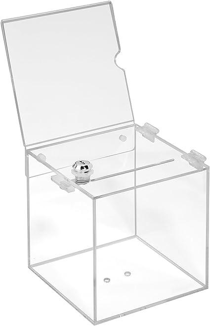 Votaciones de acrílico cristal en 150 x 150 x 150 mm con candado y topschild 150 x 150 mm – zeigis®/Dona Caja/caja/sorteo bicicletaDerbystar parte Box/transparente/transparente/acrílico/Plexiglas/abschließbar/versperrbar: Amazon.es: Oficina y papelería