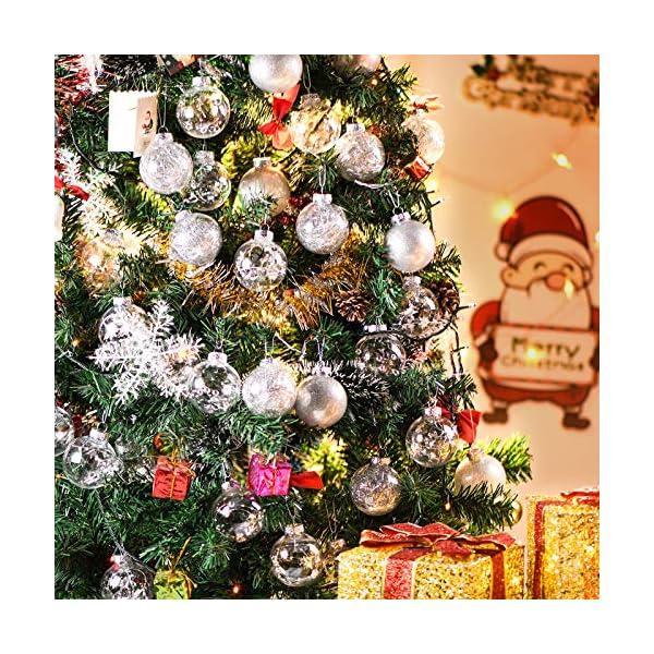 Joyjoz Decorazioni Albero di Natale Palline di Plastica, 6 cm di Diametro Palla di Natale Lucido riempita con Decorazioni Natalizi Raffinati Set 24 Pezzi 6 spesavip