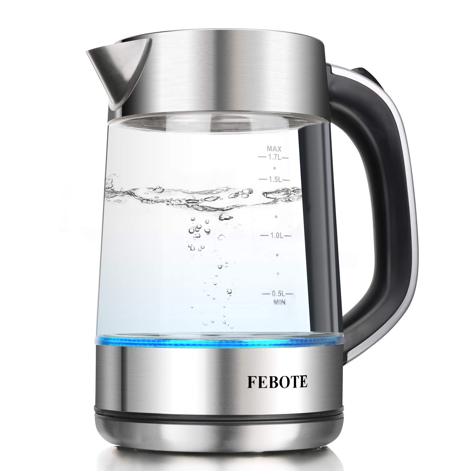 FEBOTE Electric Glass Kettle, 100% Stainless Steel Inner Lid, 1.7L 1500W Fast Boiling Water Pot with Blue Led Indicator, Auto Shutoff & Boil-Dry Protection, Water Heater for Tea, Coffee and Oats