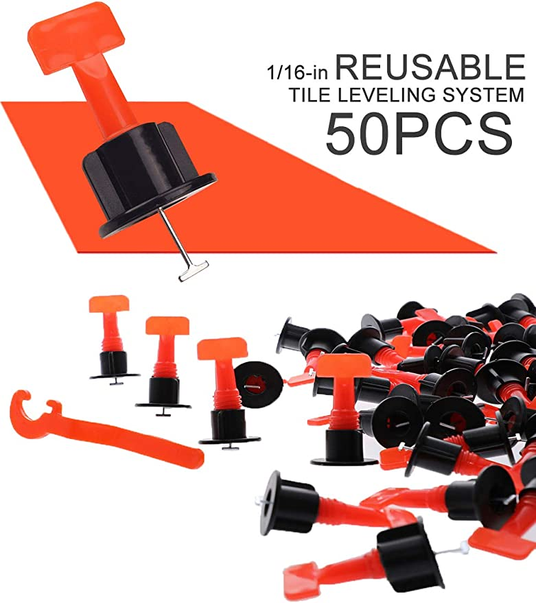 Replaceable T Lock Tile Leveling System Updated Reusable Tile Spacers with Bubble Level Head Tile Leveler