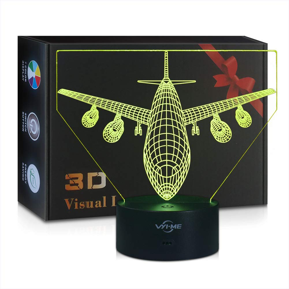 LED Visual 3D Lamp, Aircraft Illusion Night Light for Nursery Bedroom Desk Table Decoration, Creative Festival Birthday Day Children Gift (Aircraft 1) Price: $15.80