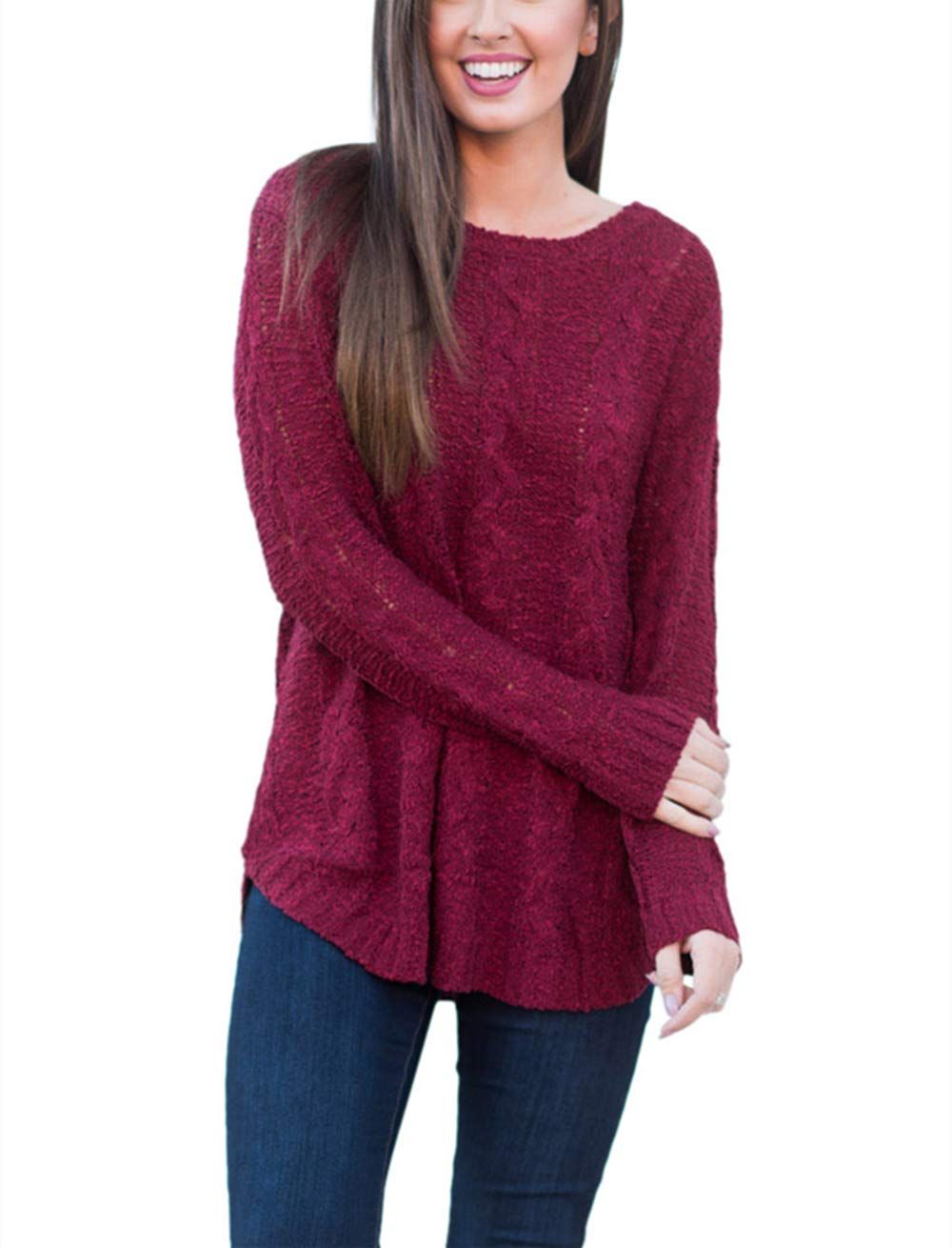AMAURAS Size 6-24 Women Super Soft Loose Sweater Tunic Top Scoop Neck Pullover Shirt