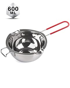 Stainless Steel Double Boiler 600ML, Updated Melting Pot with Heat Resistant Handle for Melting Chocolate, Butter, Candy and Making Custards, Sauces - 18/8 Steel Universal Insert
