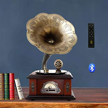 QAZWSX Tocadiscos Bluetooth, Estilo Retro del Gramófono Decoración ...