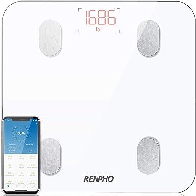 RENPHO Báscula Grasa Corporal Báscula de Baño Bluetooth Analizar Más de 13 Funciones, Monitores de Composición Corporal por App, Medición de Alta Precisión el Peso Corporal, IMC,Grasa Visceral, Blanco