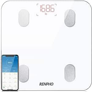Bascula de Baño Digital Grasa Corporal, RENPHO Balanza Bluetooth Inteligente con App, Bascula Electrónica con Análisis Corporal, 13 Mediciónes de Peso IMC Visceral e Muscular, Blanco