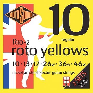 Rotosound R10-2 - Juego de cuerdas para guitarra eléctrica de níquel, 10 13 17 26 36 46: Amazon.es: Instrumentos musicales