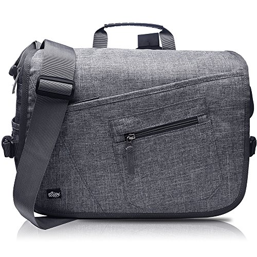Qipi Messenger Bag - Shoulder Bag for Men & Women, 15' Laptop Pocket (Grey)