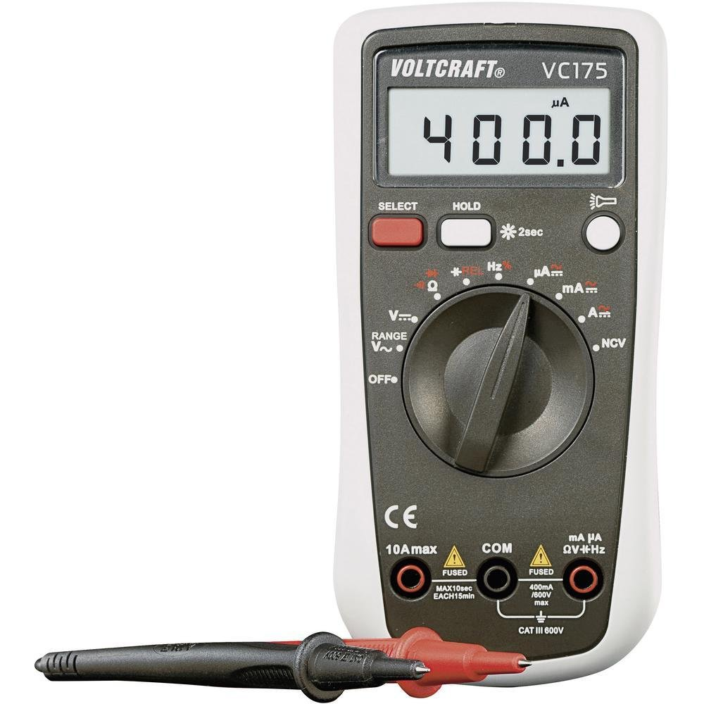 Voltcraft Multimeter VC175 Digital Handheld for AC DC Current, Capacitance, Frequency amd Duty Cycle Measurement; 4000 Counts with Flashlight and Backlight; CAT III 600 V Including 9V Battery