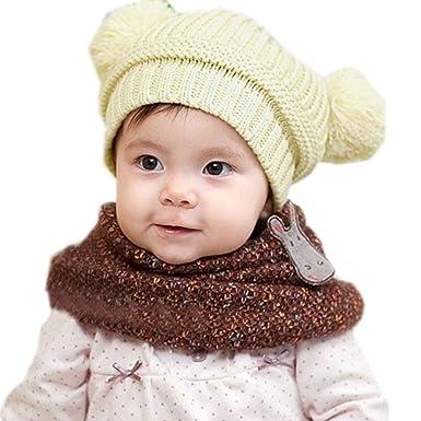 Gorras para bebé, Dragon868 Lindo bebé caliente de invierno bolas de doble sombreros de punto