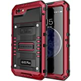 Seacosmo Waterproof Case for iPhone 6 Plus, Full Body Protective Shell with Built-in Screen Protector Military Grade Rugged Heavy Duty Case Cover for iPhone 6S+, Red