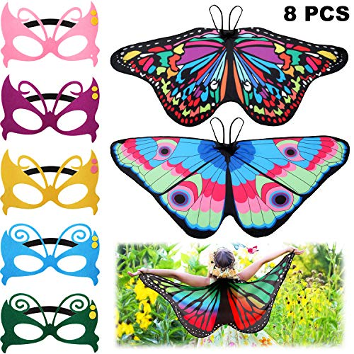 Butterfly Costumes For Children (8 Pieces Kids Butterfly Costume Fairy Butterfly Wings Masquerade Masks for Boys Girls Dress Up Pretend Play Party Favors (Color Set 3) (Color Set 2) (Color Set)