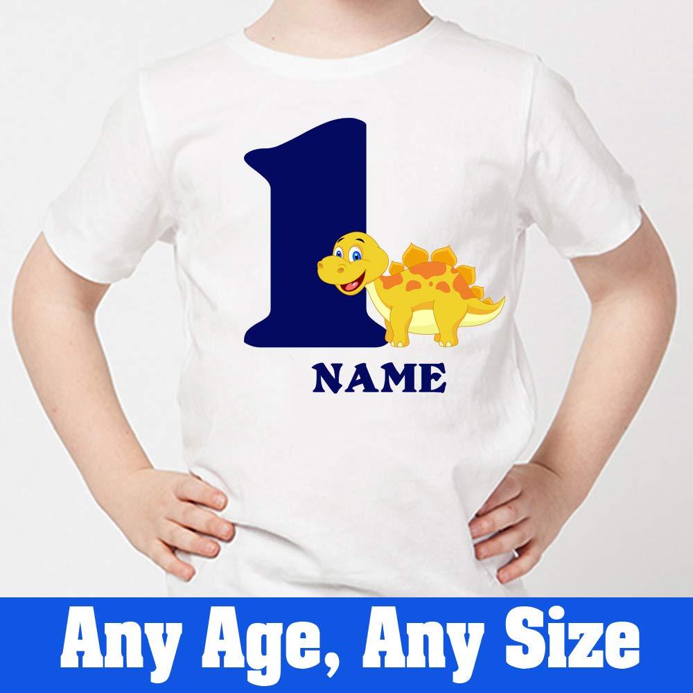 bd0b75c7 Amazon.com: Sprinklecart Personalized Name Printed Dinosaur Birthday T Shirt  | Unique 1st Birthday Dress White: Clothing