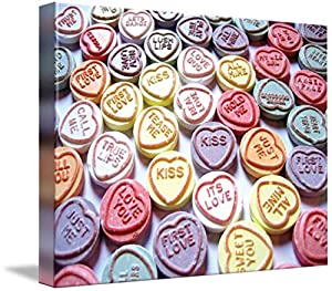 Wall Art Print entitled Love Hearts Sweets - Valentines Day by Michael Tompsett