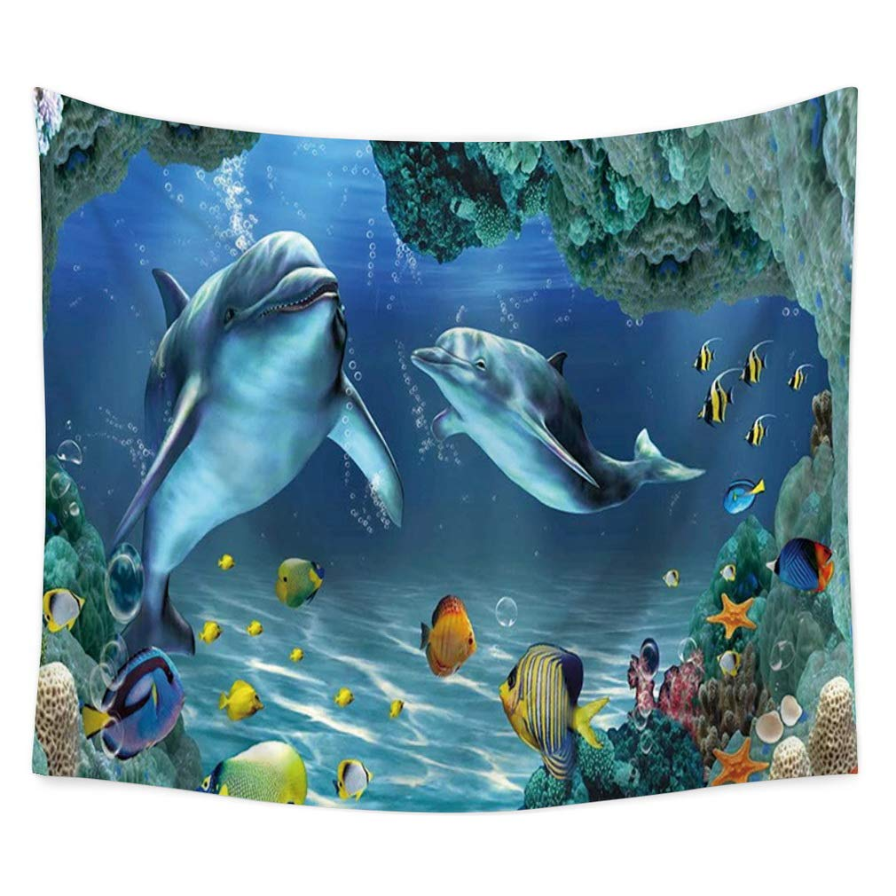 Nunubee Underwater World Print Wall Tapestry Polyester Hippie Tapestry Decorative Wall Hanging Tapestries Bedroom Dorm Home Decor UW #1-35x29 Inch / 90x75 cm