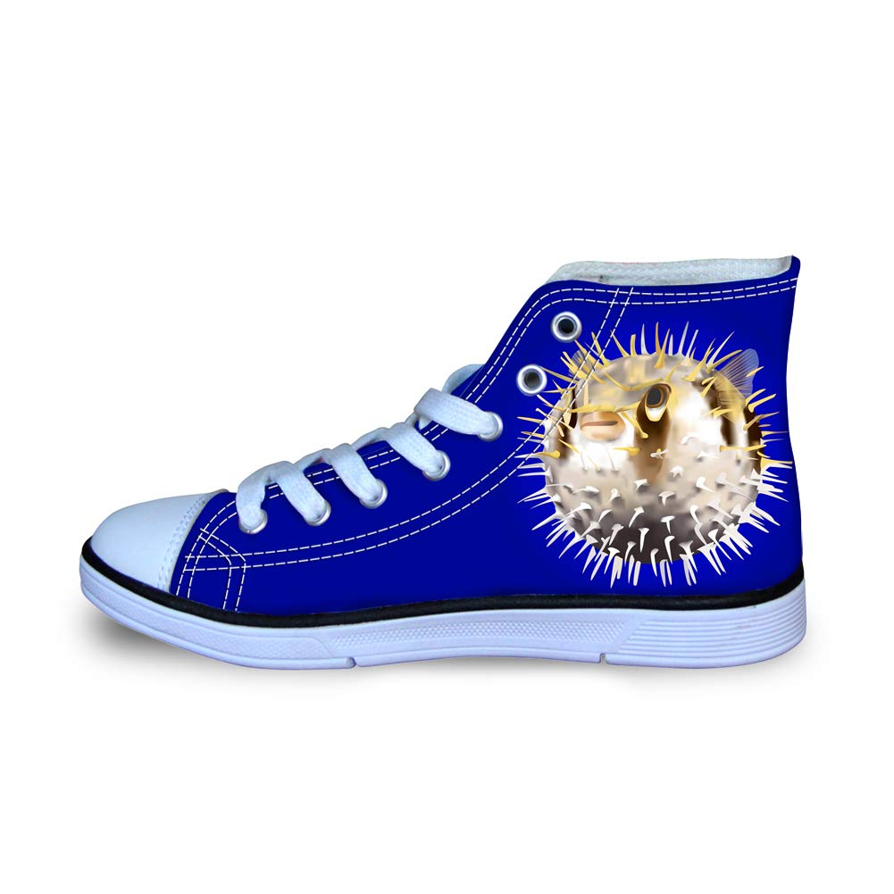 Canvas High Top Sneaker Casual Skate Shoe Boys Girls Spiked Blowfish Puffer Fish
