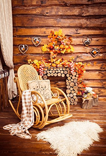 (Yeele 3x5ft Autumn Harvest Background for Photography Wooden Bord Maple Leaf Heart Shaped Decoration Plank Rocking Chair Photo Backdrop Thanksgiving Party Decor Kid Portrait Shoots Studio)