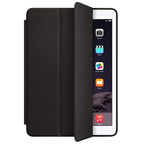 Black Apple Leather Smart Case for iPad Air 2