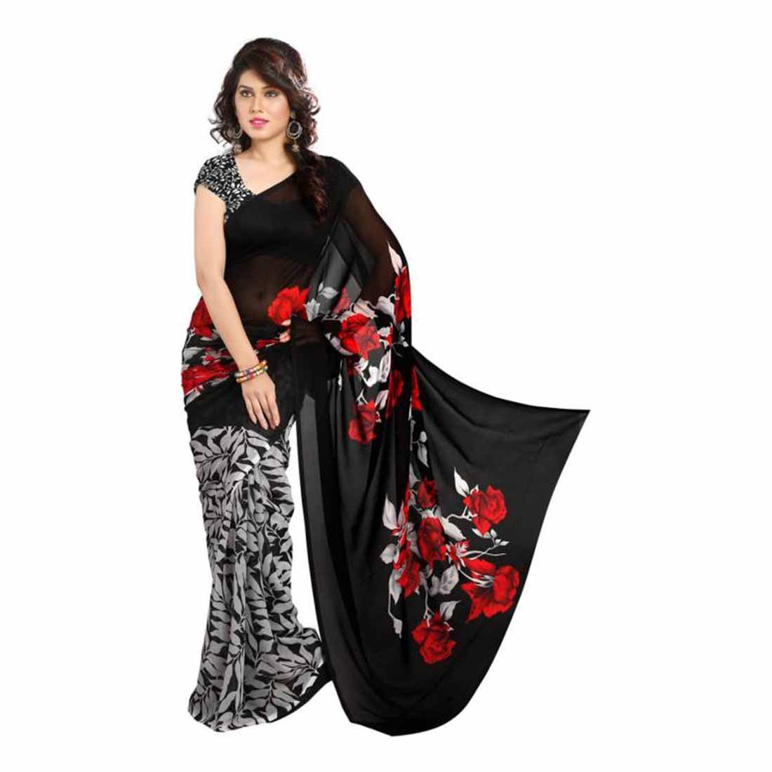 Printed Bollywood Georgette Saree (Black, Red) Indian Handicrfats Export FKSAR-0051
