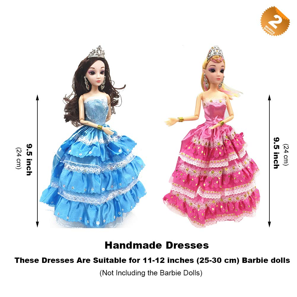 5cf71290c Amazon.com: EuTengHao 110Pcs Doll Clothes and Accessories for Barbie Dolls  Contain 10 Different Party Gown Outfits Dresses, 2 Handmade Doll Wedding  Party ...