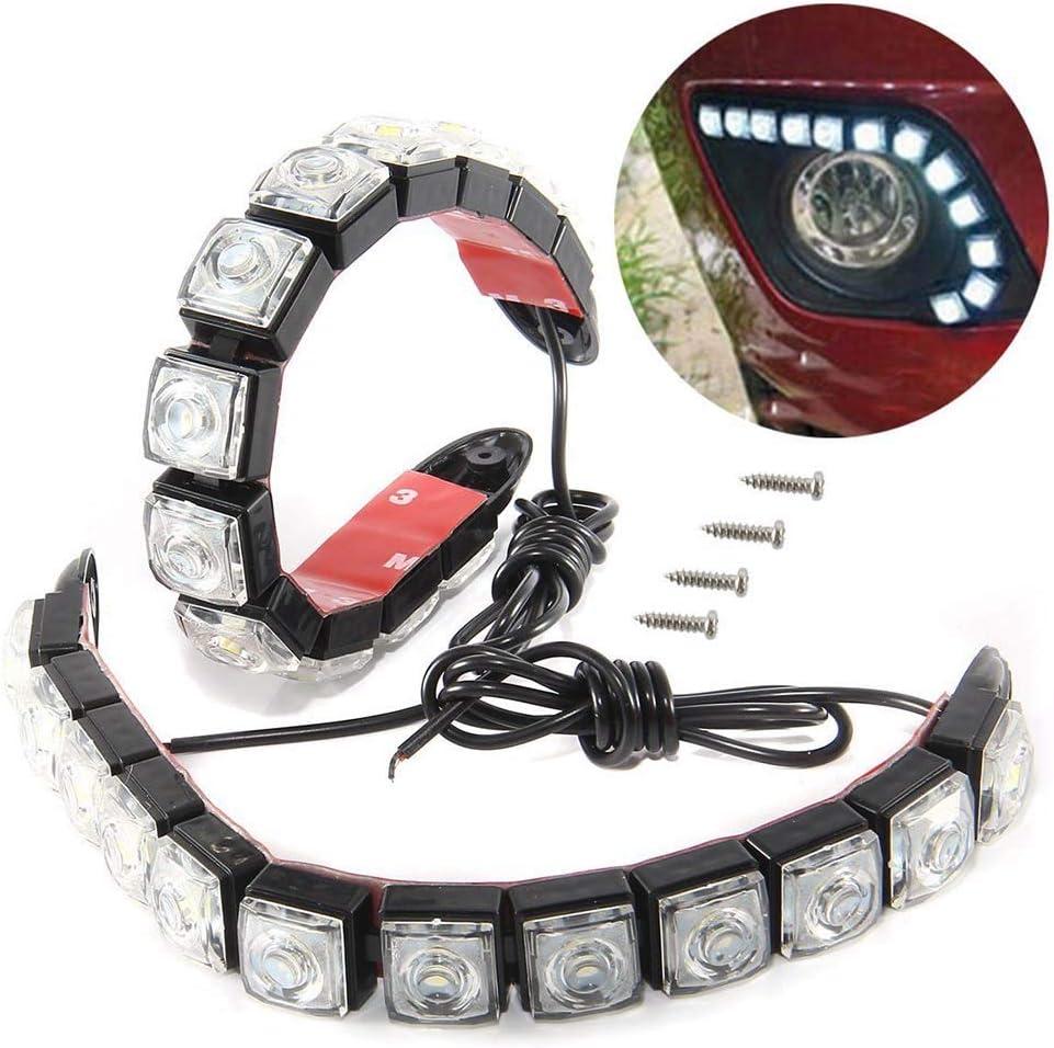2Pcs LED Auto Tagfahrlichter mit 12 LEDs Auto Tagfahrlicht Fahren Tageslicht Nebelscheinwerfer