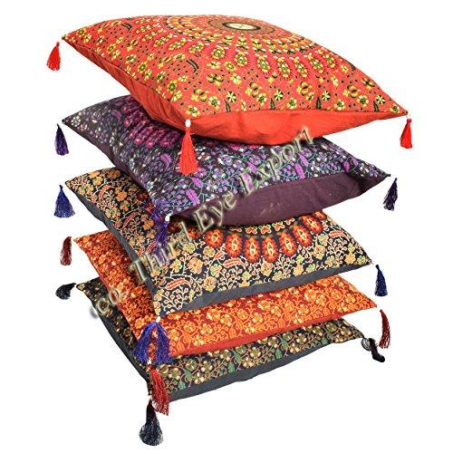 (Third Eye Export 16X16 Indian Ethnic Mandala Peacock Bohemian Set of 5 Decorative Colorful Cotton Square For Sofa Set Home Decorative Boho Throw Pillow Case Cushion Cover)