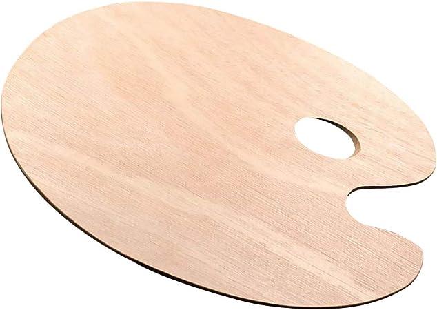 ROSENICE Tavolozza in legno con comodo foro per il pollice per acquerelli acrilici e colori ad olio