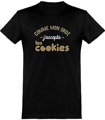 4a26a0e7670e6 J'accepte Les Cookies t-Shirt Humour fête des pères Geek Cadeau, imprimé