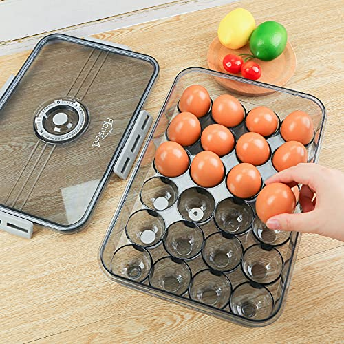 HANSGO Egg Holder for Refrigerator, Clear Egg Tray Storage Box with Lid Deepen and thicken Egg Storage Stackable PET Plastic Egg Containers Hold Up to 24 Eggs, Grey