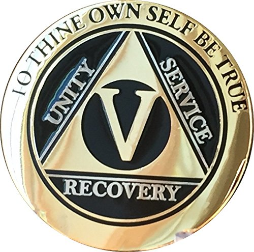 - Recoverychip 5 Year AA Medallion Elegant Black Gold Silver Bi-Plated Alcoholics Anonymous Chip