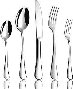 OMGard Silverware Set 20-Piece Flatware 18/8 Stainless Steel Cutlery Eating Utensils Forks Spoons Knives Sets, Mirror Polished Tableware Service for 4 Dishwasher Safe