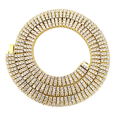 HH Bling Empire Unisex Iced Out Hip Hop Gold Artificial Diamond cz Tennis Chain 20 24 30 Inches (3 Row-Gold-30)