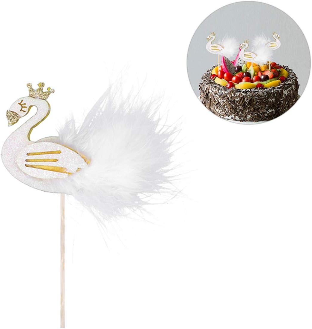 Amosfun Flamingo Plume Cupcake Topper G/âteau Dessert D/écor pour la F/ête danniversaire De Mariage 5pcs