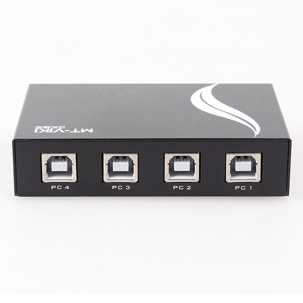 Panlong 4-Port USB 2.0 KM Switch Synchronizer, 1 Set of Wired Keyboard and Mouse Simultaneously Control and Switch between 4 PC Computers