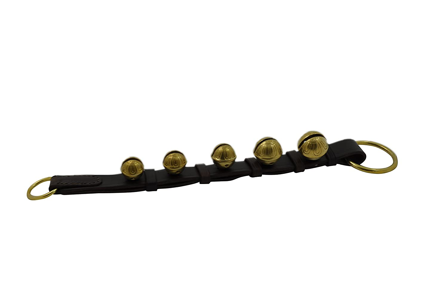 Hope Woodworking Door Hanging Bells, Double Sewn Black Leather Strap, 5 Solid Brass Bells VHHBBLSBDS5