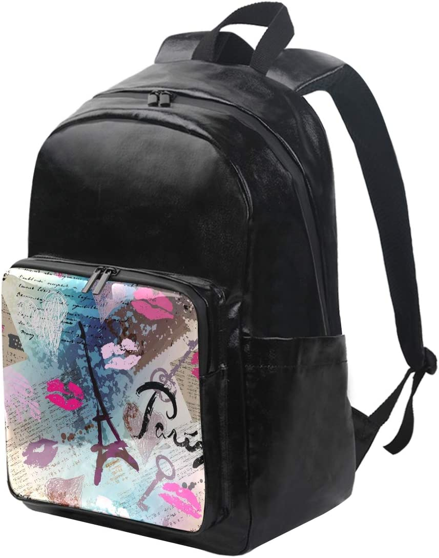MONTOJ Love Paris Newspaper Background Canvas Travel Bag Campus Backpack Unisex School Pack Daypack