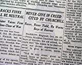 """NEVER GIVE IN"" Harrow School WINSTON CHURCHILL'S"
