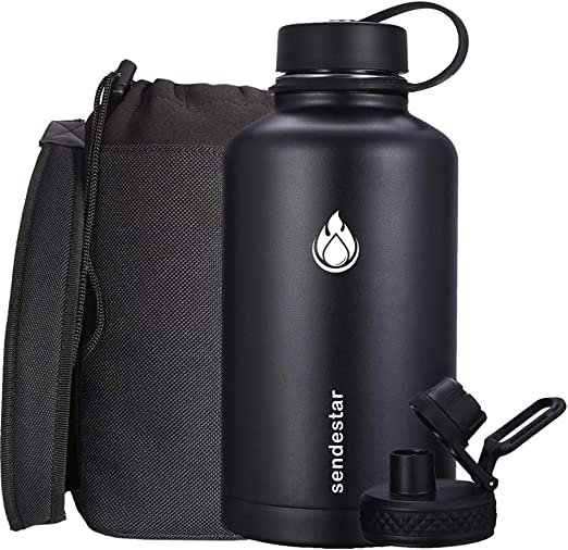 SENDESTAR Stainless Steel Water Bottle-12oz, 24oz, 40oz or 64oz with New Straw Lid or Spout Lid Keeps Liquids Hot or Cold with Double Wall Vacuum Insulated Bottle (64 oz-Black)