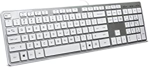 BFRIENDit Wired USB Keyboard , Comfortable Quiet Chocolate Keys , Durable Ultra-Slim Wired Computer Keyboard For PC , Windows 10 / 8 / 7 / Vista , KB1430 - Sliver